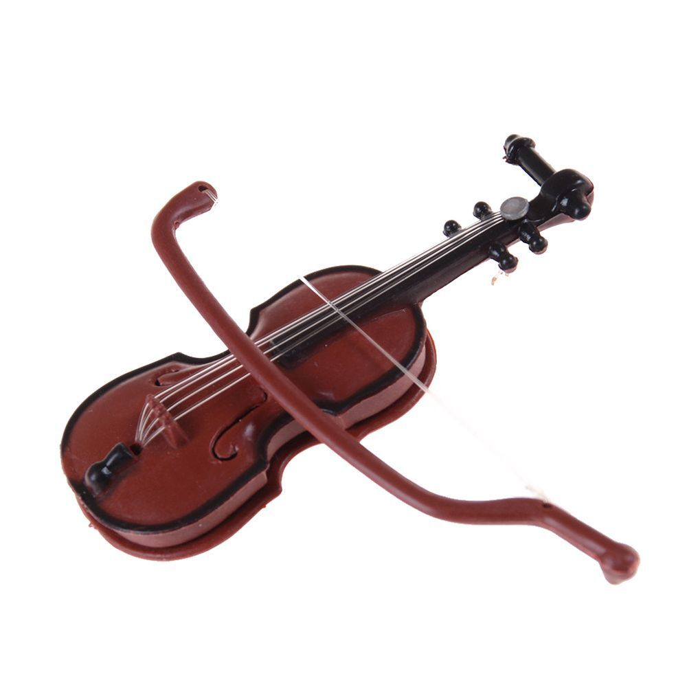 Lovely Chic Novelty Wooden Violin Miniature Ornament Violin Model Desk Decor
