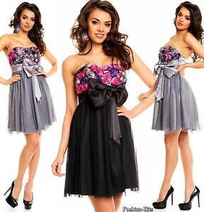 bezauberndes cocktailkleid abendkleid mit stoffrosen petticoat kleid 34 36 38 40  ebay