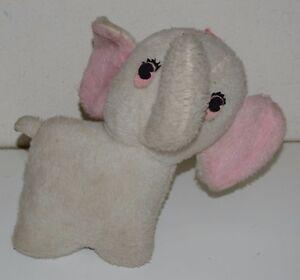 Vintage Toy Elephant 11 Plush Stuffed Animal Wind Up Music Box Rock
