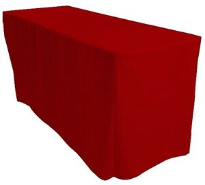1-2m-4FT-Fitted-Red-Trestle-Table-Cover-Functions-Weddings-Parties-Markets