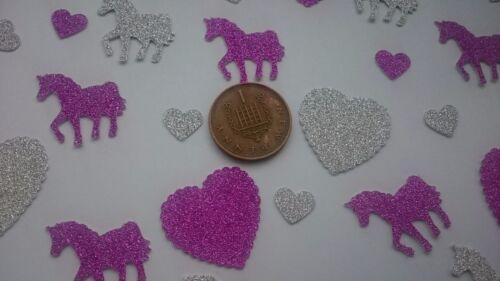 craft, 150 pretty pieces non shed glitter heart /& unicorn party table confetti