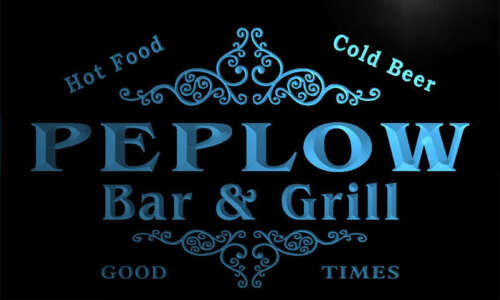 u34586-b PEPLOW Family Name Bar /& Grill Home Brew Beer Neon Sign