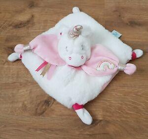 Doudou Licorne Babynat Baby Nat Blanc Rose Neuf Convient Aux Hommes, Femmes Et Enfants