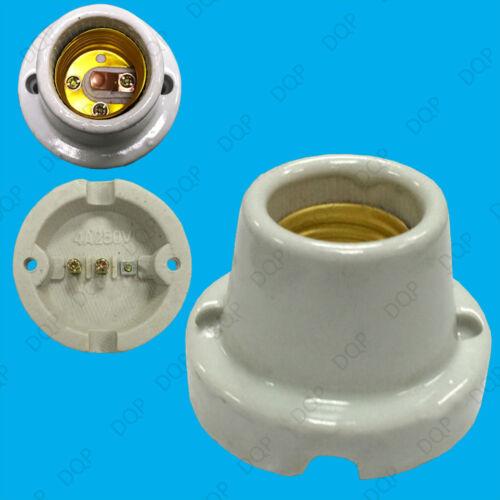 4x straight céramique émaillée chaleur lampe ampoule titulaire douille es E27 porcelaine