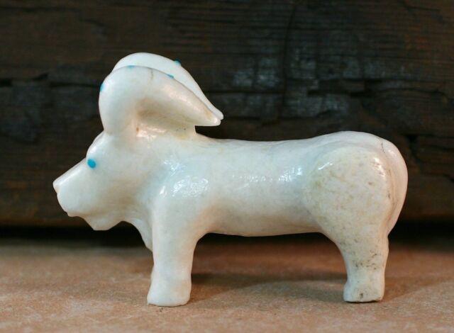 Native American Zuni Delbert Seciwa white Marble Ram Fetish Carving