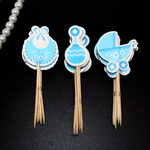 Boy//Girl Type Baby Shower Cute Cake Decorations Kids Birthday Cupcake Toppers TB