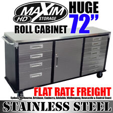 MAXIM HD 72 inch Stainless Steel Top Roll Cabinet PI242ES Rolling Storage Box