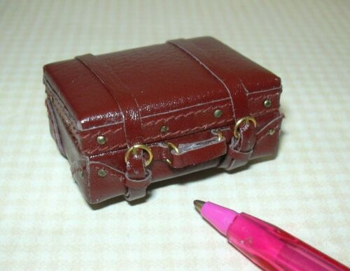 DOLLHOUSE 1:12 Miniature Falcon SMALL Brown Suitcase w//Working Buckles Opens!