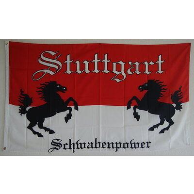 FAHNE FLAGGE 2059  STUTTGART SCHWABENPOWER VfB 90 x 150cm MEINE STADT (2) NEU