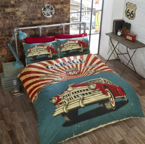 VINTAGE CAR AMERICAN FLAG ROUTE 66 RED CREAM TEAL SINGLE DUVET COVER 135CMX200CM