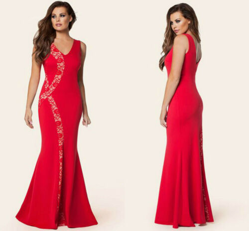 Ladies Mermaid Maxi Evening Long Red Party Scoop Neck Lace Dress 10 12 14 16 18