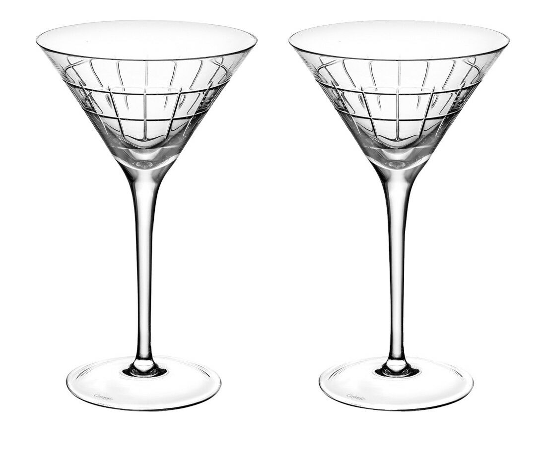 Nouveau CHRISTOFLE GRAPHIK MARTINI verres Set de 2 Brand New in Box  7945280 CRYSTAL F SH