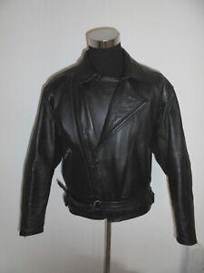 vintage-90s-POLO-Motorradjacke-Leder-Bikerjacke-leather-motorcycle-jacket-54-L