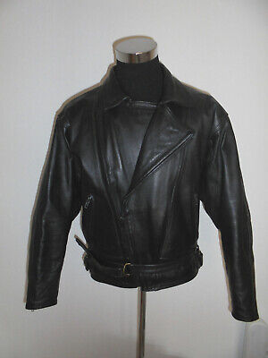 Iniziativa Vintage 90s Polo Giacca Moto In Pelle Biker Giacca Leather Motorcycle Jacket 54/l-mostra Il Titolo Originale