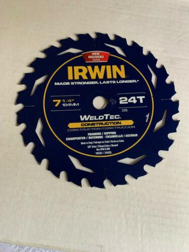 "24 tooth Weld-Tec 5//8 arbor Irwin 24035 Saw Blade 7.25/"""