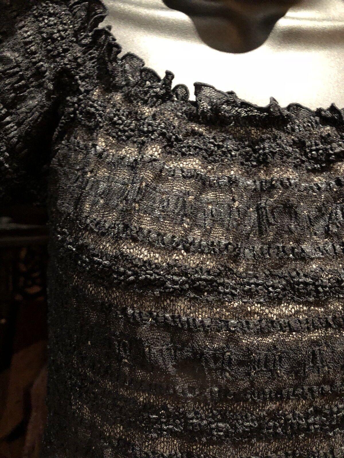 Vintage Black Lace Tan Stretch Gothic Corset Bust… - image 2