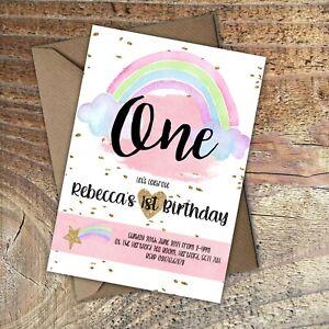 BIRTHDAY-INVITATIONS-First-Birthday-Pretty-Rainbow-Personalised-Any-age-PK-10