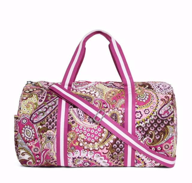 VERA BRADLEY Round Duffel VERY BERRY PAISLEY Tote Bag School Travel Carry On $96