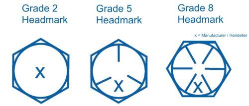 PT Hex Head Cap Screw Sechskantschraube 3//8-16 UNC x 2 3//4 Grd.5 verzinkt