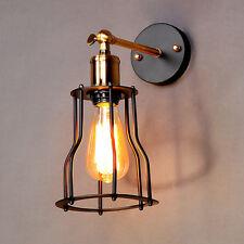 Industrial Retro Vintage Rustic Loft Sconce Shade Bar Cage Wall Light Lamp