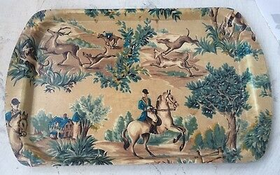 Vintage Kitsch French 50's 60's Fibreglass Tray Hunting Horse Riding Scene