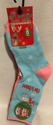 Size 4-6.5 Christmas 6pk Ankle Socks Brand New Kids