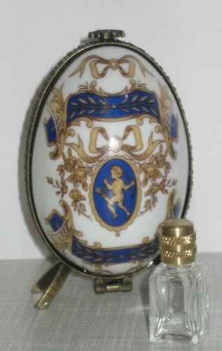 Ei Dose mit Parfüm Flakon Porzellanei Porzellandose Sammlerdose Rose Engel 9x5cm