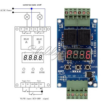 Automation Delay Cycle Timer Relay 12V LED Control Dual Display Switch Module