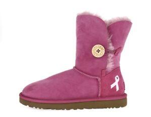 Womens-UGG-AUSTRALIA-PINK-RIBBON-218090-pink-sheepskin-short-boots-sz-7-M