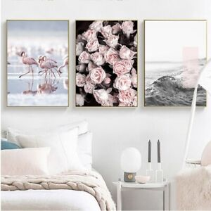 Details about Romantic Light Pink Peonies Flowers Flamingos Poster  Butterfly Canvas Paintings