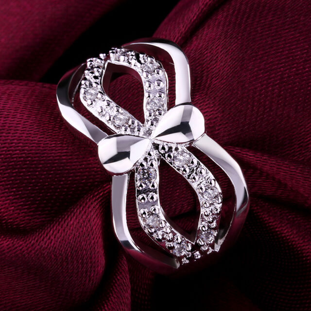 New 925 Sterling Silver Filled Crystal Solid Ring Wedding Engagement Rings Gift