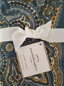 Set//4 NEW Pottery Barn Anton Paisley Blue Green Multi Cotton Linen Napkins 20""