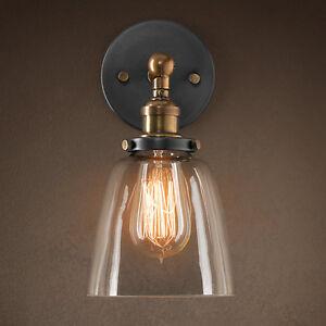 E27-Industriale-Vintage-LAMPADA-DA-PARETE-IN-VETRO-RUSTICO-SCONCE-Luce-a-Muro