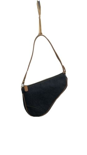 Christian Dior Blue Canvas Saddle bag authentic