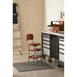 Details about Retro Counter Chair Step Stool Red Folding Kitchen Vintage  Bar Seat Furniture