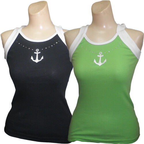 Ladies Sleeveless 2 Tone Racer Back Tank Top Appliqued Anchor Design