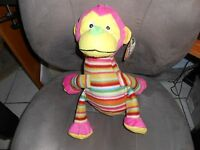 Kellytoy Kelly Toy Plush 15 Striped Pink Monkey Green Nose Ape