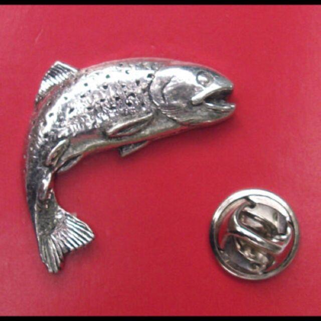 English Pewter LEAPING SALMON Pin Badge Tie Pin / Lapel Badge (XTSBPF01)