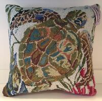Turtle Hooked Wool 18x18 Throw Pillow