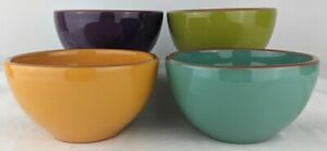 Set-of-4-BOBBY-FLAY-PLANCHA-Soup-or-Cereal-Bowls-Green-Purple-Orange-Blue-EUC