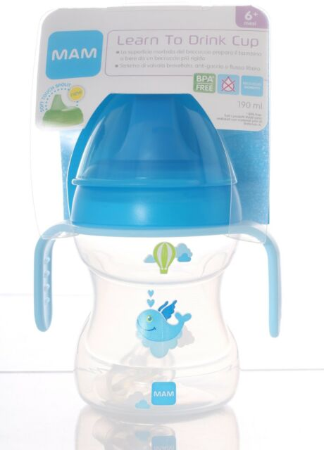 MAM tazza LEARN TO DRINK CUP  con manici 190 ml 6 + mesi vari colori