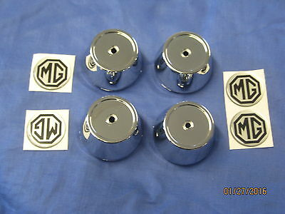 MG MGB OR GT SET OF FOUR ALLOY WHEEL CENTRE CAPS CHROME  PLASTIC INC BADGE