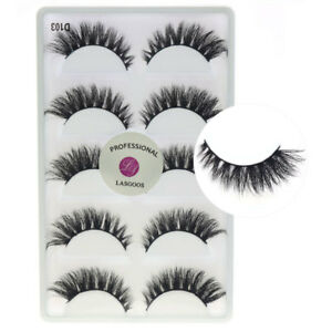 f81d05c5d2e New 5Pairs/lot 3D Real Mink Fake Eyelashes Winged Messy Thick False ...