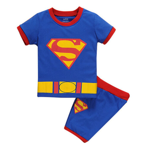 Shorts Outfits Costume Kid Superman Superhero Casual Pajamas Sleepwear T-shirt