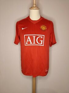 Autentico Originale Manchester United 2007-2009 Home Shirt Media Uomo in buonissima condizione