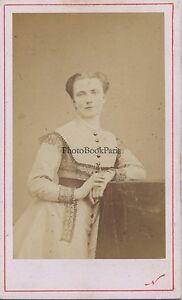 Attrice Donna Robe Modalità Foto Nadar Parigi Francia CDV Vintage Albumina Ca
