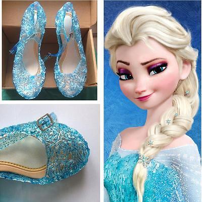 Mädchen Frozen Eiskönigin Elsa Anna Prinzessin Kostüm Kinder Schuhe Blau 6 Größe