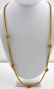 Vintage-Mia-Knotted-Goldtone-Metal-Necklace-Chain-Braided-Woven-Simple-Design