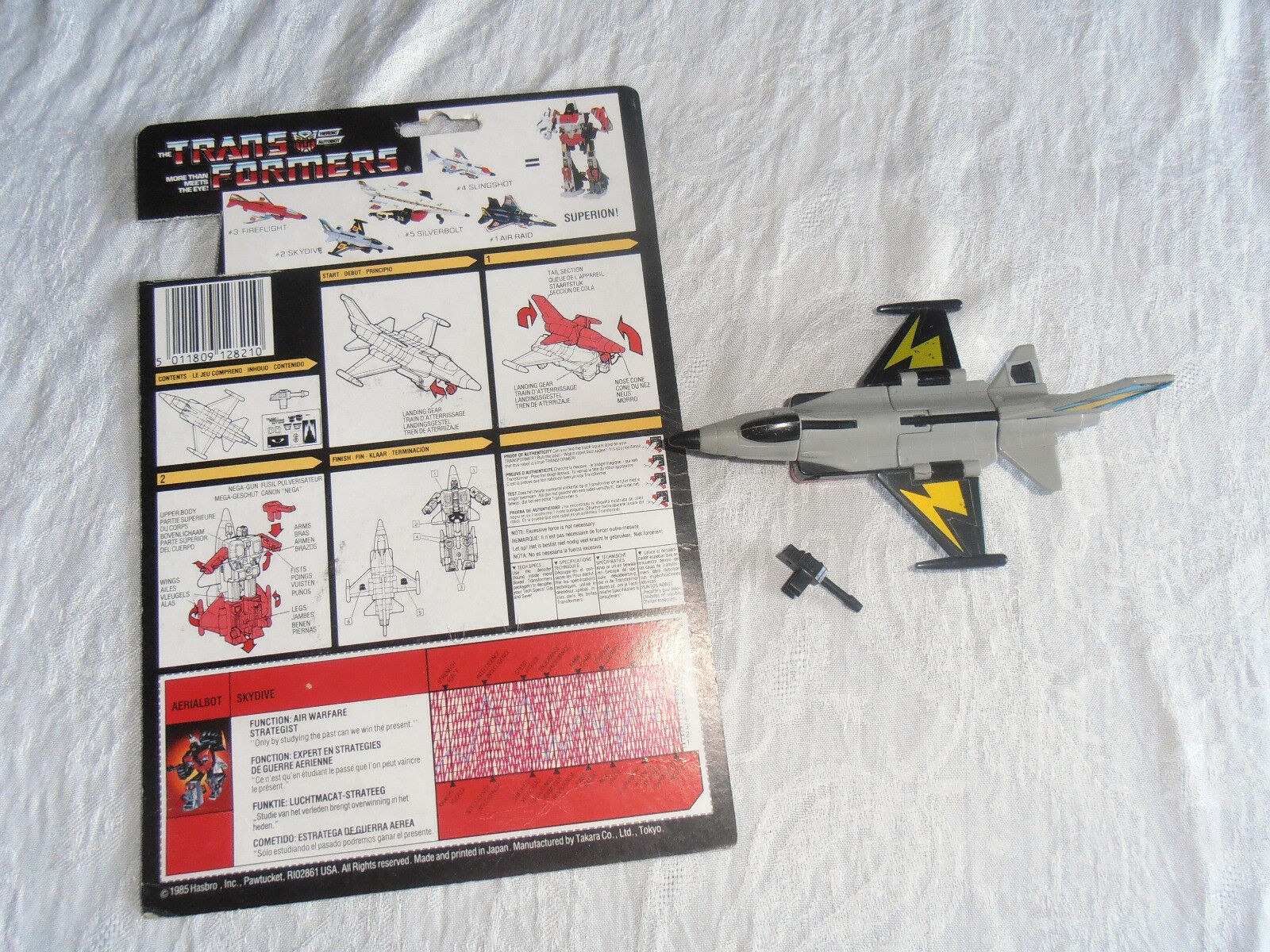Transformers G1 Skydive HASBRO 1985 100 % complet + carte blister