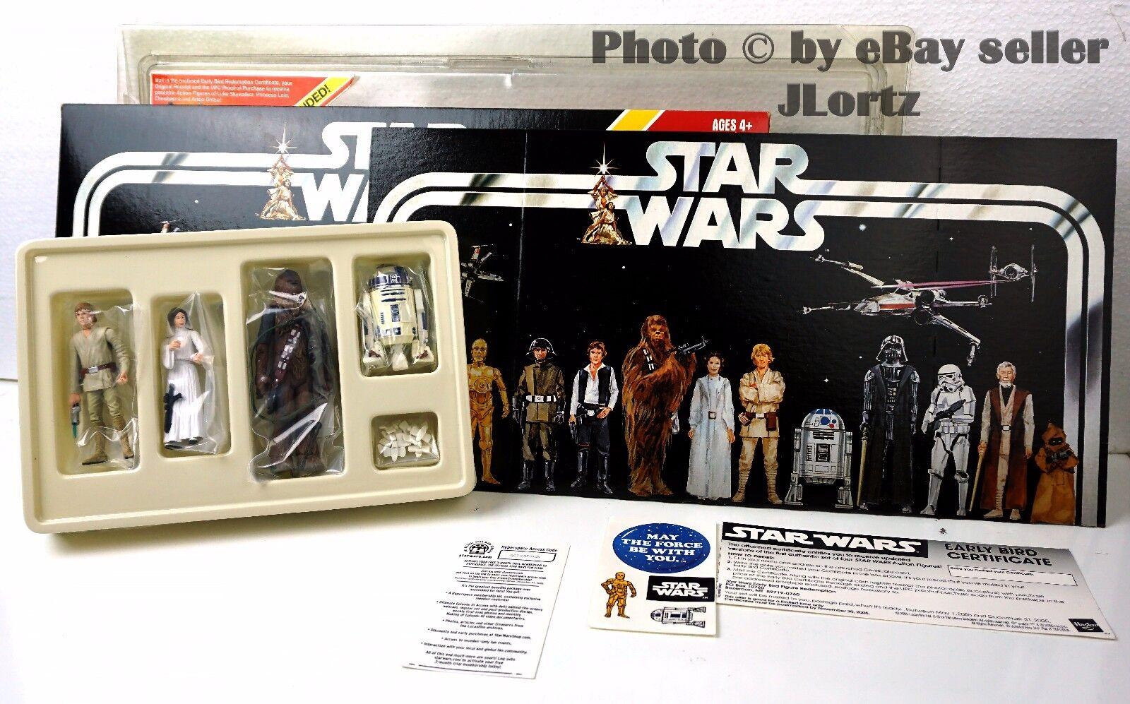 Star Wars 2005 Early Bird Certificate & Figure Set – Luke Leia Chewy R2D2 NEW